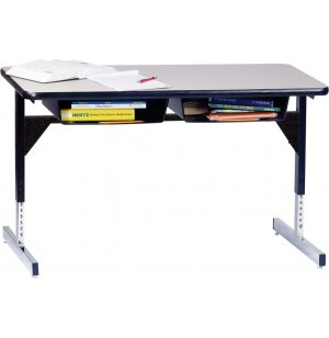 Open Front Double School Desk with T-Legs - Laminate Top