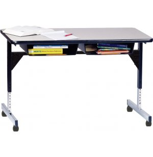 Open Front Double Desk with T-Legs and Casters