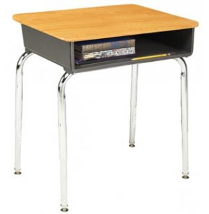 Open Front School Desk - WoodStone Top