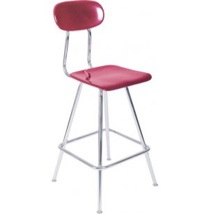 Fixed-Height Lab Stool with Back in Hard Plastic