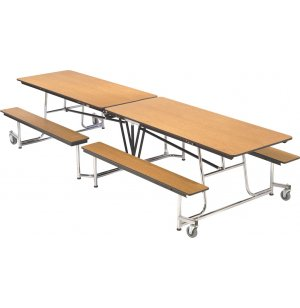 Mobile Cafeteria Table - Chrome Frame, Vinyl Edge