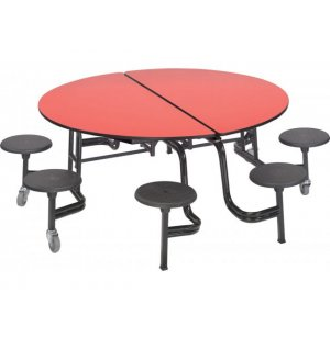 Mobile Round Cafeteria Table - Plywood, Chrome, 8 Stools