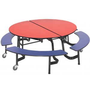 AMT Round Mobile Bench Cafeteria Table