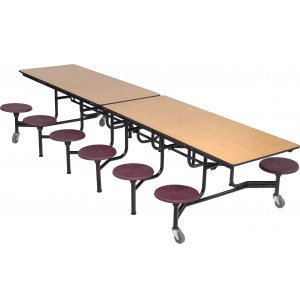 Mobile Cafeteria Table - Plywood Core, 12 Stools