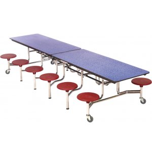 Mobile Cafeteria Table - Plywood Core, Chrome, 12 Stools