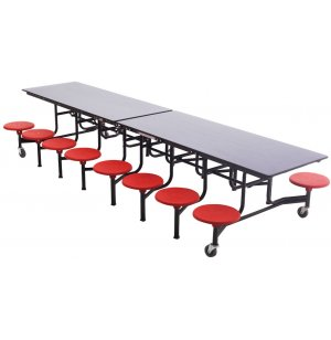 Mobile 16-Stool Table 12' Dyna-Rock Edge-Chrome