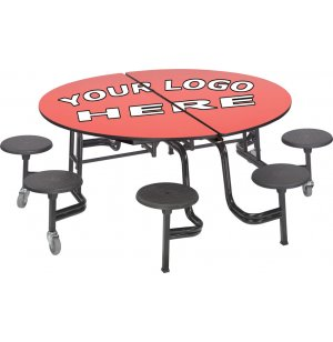 Mobile Round 8 Stool Table Plywood Top Chrome Frame