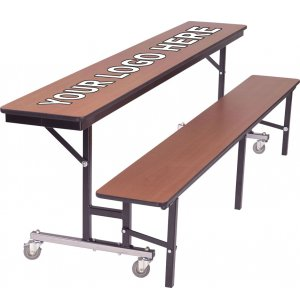 Mobile Convertible Bench Cafeteria Table - Chrome