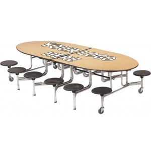 Mobile Oval Cafeteria Table - Chrome Frame, 12 Stools
