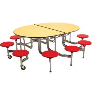 Mobile Oval Cafeteria Table - Chrome Frame, 10 Stools