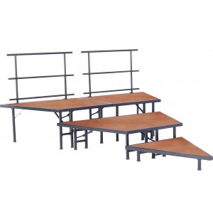 Pie-Shaped Seated Choir Risers - Hardboard, 3-Tier