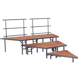 Pie-Shaped Seated Choir Risers - Hardboard, 3-Tier