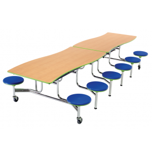 Wave Mobile Cafeteria Table, 12 Stools - Chrome Frame