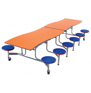 Wave Cafeteria Table,12 Stools- Plywood, Chrome, DynaRock