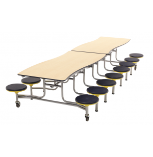 Wave Mobile Cafeteria Table,16 Stools - Chrome Frame