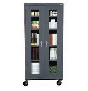 Mobile C-Thru Storage Cabinet Full Height
