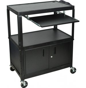Adjustable-Height Steel AV Cart with Keyboard Tray