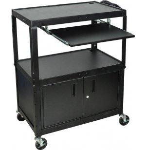 Adjustable-Height Steel AV Cart with Keyboard Tray