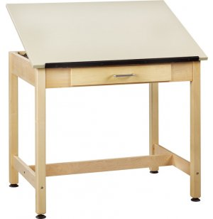 Drawing Table 1-Piece Top Large Drawer