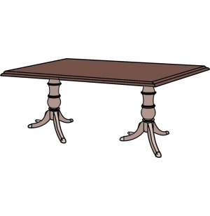 Rectangular Top Table- two 3-Footed Pedestals