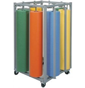 Mobile 8-Roll Vertical Rack Paper Roll Dispenser