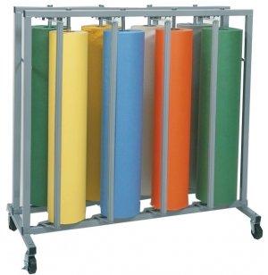 Mobile 8-Roll Vertical Rack Paper Roll Dispenser, Assembled
