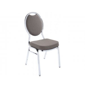 Oval Back Fabric Stacking Chair, Chrome Frame