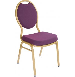 Oval Back Fabric Stacking Chair, Painted Frame