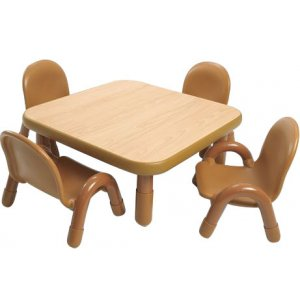 Square Baseline Preschool Table With 4 Chairs Natural 30 BSL