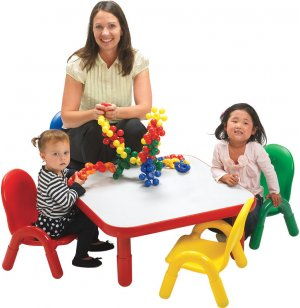 Square Baseline® Preschool Table with 4 Chairs - Colors