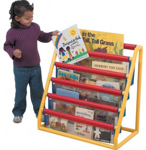 Clear 5 Pocket Book Display with Casters