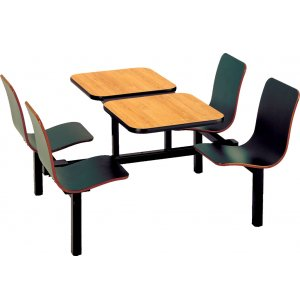Split Retro Bench Cafeteria Booth- Middle Support, 4 Person