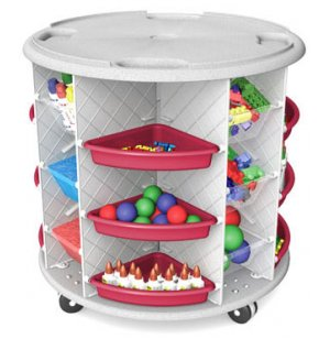 Mobl Lite Storage-Clear Totes & Colored Pie Trays