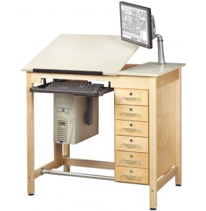 CAD Drawing Table w/Storage Drawers