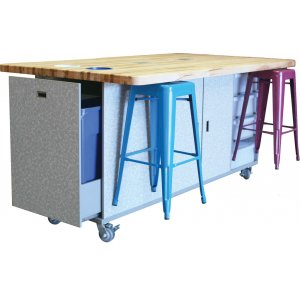 Ed Makerspace Table with 6 Metal Stools