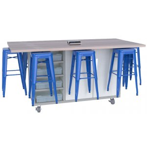 Ed Makerspace Table with 8 Metal Stools