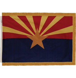 Indoor Arizona State Flag with Pole Hem and Fringe