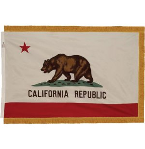 Indoor California State Flag with Pole Hem and Fringe