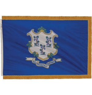 Indoor Connecticut State Flag with Pole Hem and Fringe