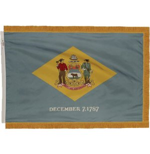 Indoor Delaware State Flag with Pole Hem and Fringe