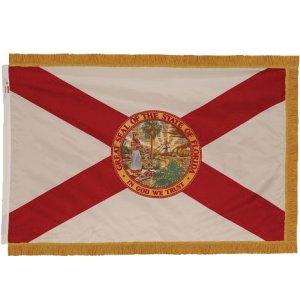 Indoor Florida State Flag with Pole Hem and Fringe