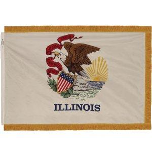 Indoor Illinois State Flag with Pole Hem and Fringe