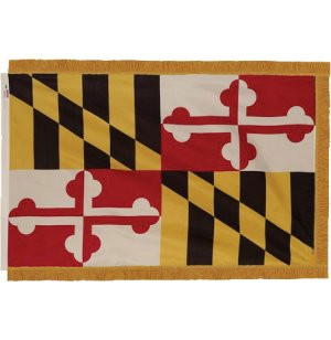 Indoor Maryland State Flag with Pole Hem and Fringe