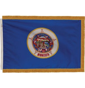 Indoor Minnesota State Flag with Pole Hem and Fringe