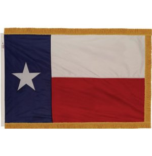 Indoor Texas State Flag with Pole Hem and Fringe