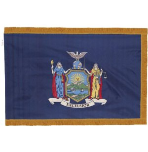 Indoor New York State Flag with Pole Hem and Fringe