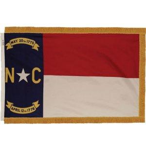Indoor North Carolina State Flag w/ Pole Hem and Fringe
