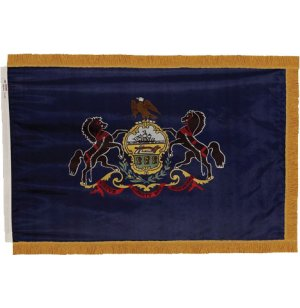 Indoor Pennsylvania State Flag with Pole Hem and Fringe