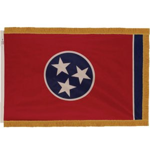 Indoor Tennessee State Flag with Pole Hem and Fringe