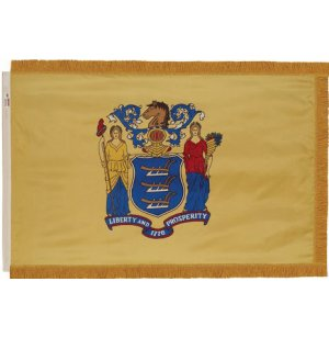 Indoor NJ State Flag with Pole Hem and Fringe